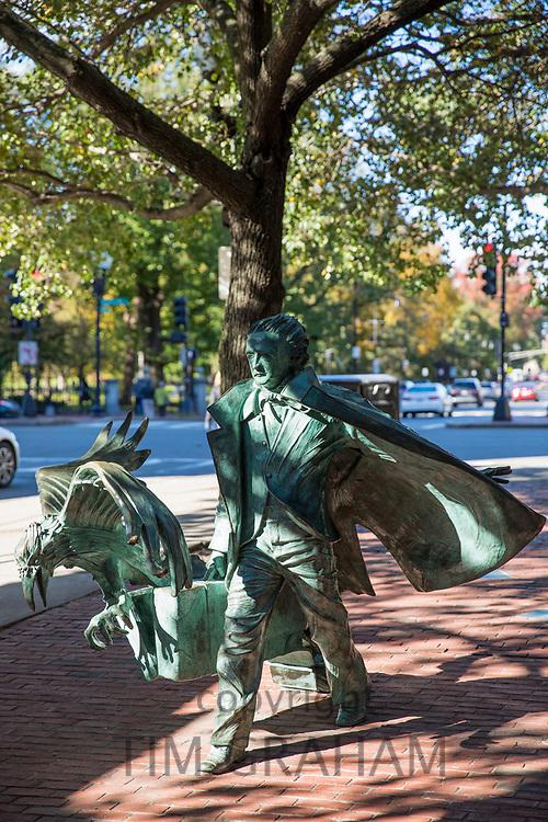 Bronze statue of author Edgar Allan Poe, a famous landmark in Boston, Massachusetts, USA
