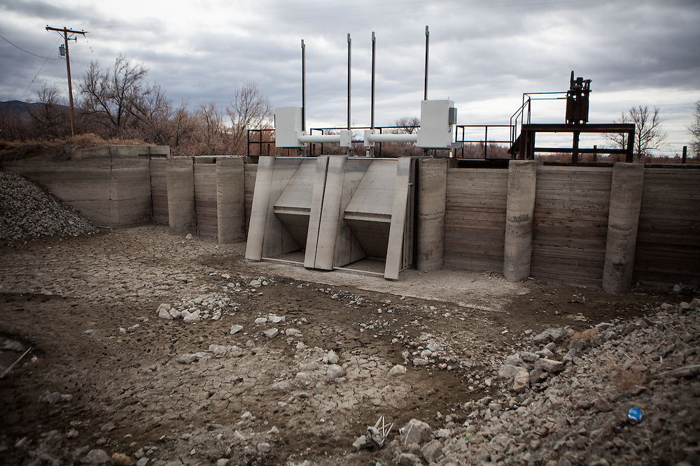 LOVELOCK, NV - JANUARY 29, 2014: The Pitt Dam sits dry as a drought emergency is declared in Nevada. CREDIT: Max Whittaker for The New York Times