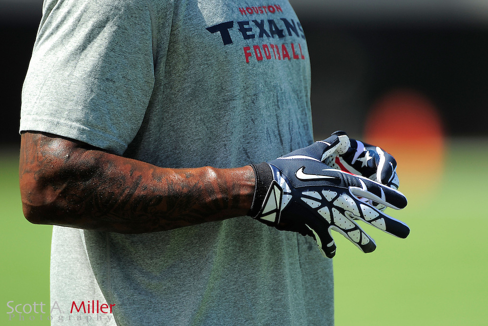 Houston Texans wide receiver Andre Johnson (80) wears Nike gloves prior to the NFL game between the Texans and the Jacksonville Jaguars, at EverBank Field on September 16, 2012 in Jacksonville, Florida. ©2012 Scott A. Miller.