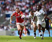 Wales' Hallam Amos chase his kick through with England's Marland Yarde during the The Old Mutual Wealth Cup match England -V- Wales at Twickenham Stadium, London, Greater London, England on Sunday, May 29, 2016. (Steve Flynn/Image of Sport)