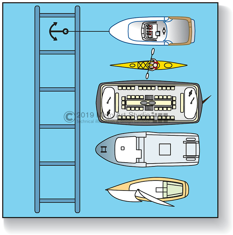 A vector illustration of nautical navigational rules of the road for passing a vessel.