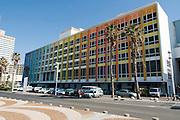 Israel, Tel Aviv, the Dan Hotel on the beach front. The colourful facade by Yaacov Agam