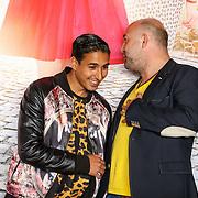 """NLD/Amsterdam/20150515 - Castpresentatie nieuwe film van Johan Nijenhuis  """"Rokjesdag"""", Hassan Salah Slaby en Loek Peters"""
