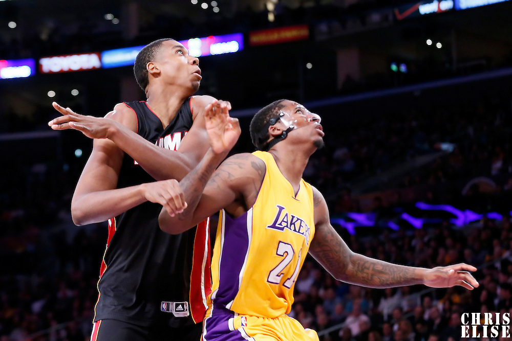 13 January 2014: Miami Heat center Hassan Whiteside (21) vies for the rebound with Los Angeles Lakers forward Ed Davis (21) during the Miami Heat 78-75 victory over the Los Angeles Lakers, at the Staples Center, Los Angeles, California, USA.