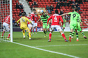 Forest Green Rovers Darren Carter(12) heads the ball scores a goal 2-1 during the Vanarama National League match between Wrexham FC and Forest Green Rovers at the Racecourse Ground, Wrexham, United Kingdom on 26 November 2016. Photo by Shane Healey.