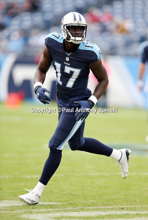 Tennessee Titans wide receiver Dorial Green-Beckham (17) goes out for a pass while warming up before the 2015 week 7 regular season NFL football game against the Atlanta Falcons on Sunday, Oct. 25, 2015 in Nashville, Tenn. The Falcons won the game 10-7. (©Paul Anthony Spinelli)