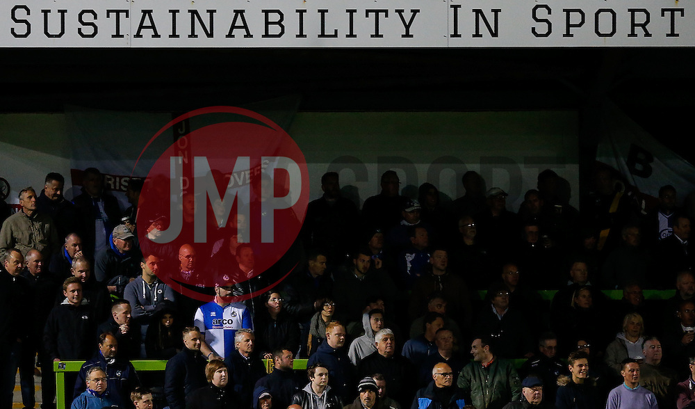 Bristol Rovers supporters look on nervously - Photo mandatory by-line: Rogan Thomson/JMP - 07966 386802 - 29/04/2015 - SPORT - FOOTBALL - Nailsworth, England - The New Lawn - Forest Green Rovers v Bristol Rovers - Vanarama Conference Premier - Playoff Semi Final 1st Leg.
