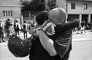 G8  Genova  20 Luglio 2001.Ritrovarsi dopo le cariche in via Tolemaide.<br /> G8 Genoa July 20, 2001. Find himself after the police charges in via  Tolemaide.