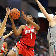 HARTFORD, CONNECTICUT- DECEMBER 19: Stephanie Mavunga #1 of the Ohio State Buckeyes drives to the basket defended by Katie Lou Samuelson #33 of the Connecticut Huskies and Natalie Butler #51 of the Connecticut Huskies during the UConn Huskies Vs Ohio State Buckeyes, NCAA Women's Basketball game on December 19th, 2016 at the XL Center, Hartford, Connecticut (Photo by Tim Clayton/Corbis via Getty Images)