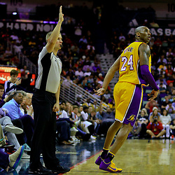 Apr 8, 2016; New Orleans, LA, USA; Los Angeles Lakers forward Kobe Bryant (24) reacts after a shot against the New Orleans Pelicans during the second quarter of a game at the Smoothie King Center. Mandatory Credit: Derick E. Hingle-USA TODAY Sports