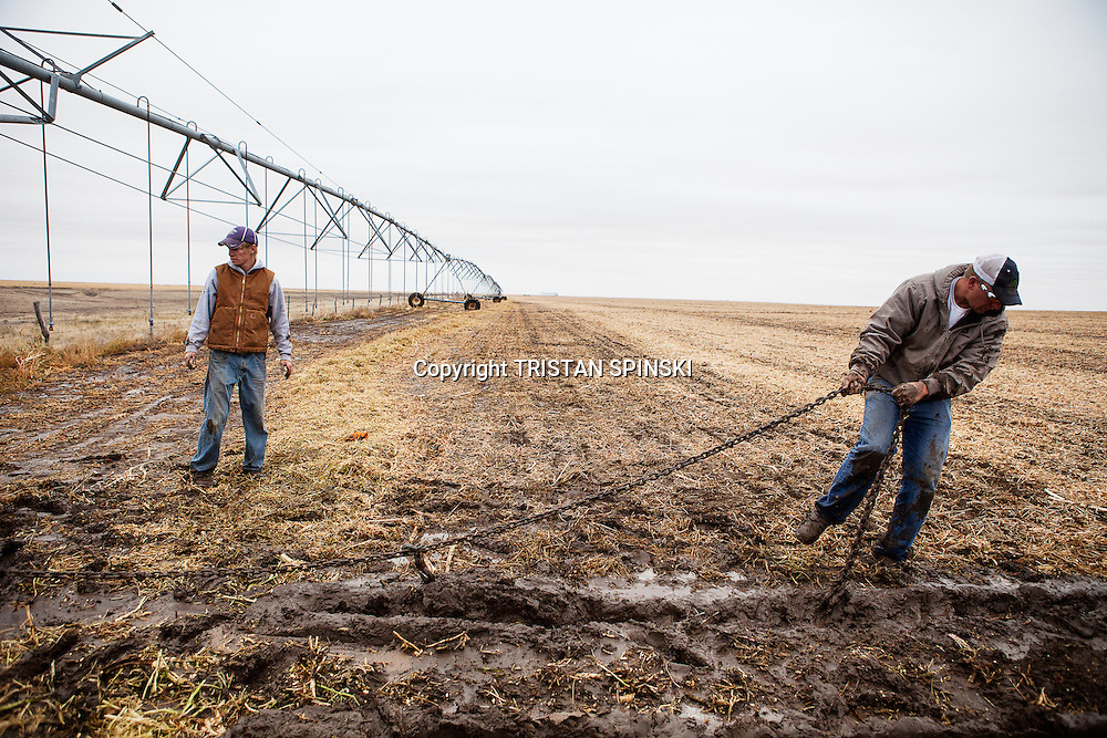 Brett Oelke, right, and his farm hand, Ethan Walters, work on pulling out a center pivot irrigation system that has become stuck in the mud on the family's 6,000-acre farm outside of Hoxie, Kan., on Friday, Oct. 12, 2012. As historically dry conditions continue, farmers from South Dakota to the Texas panhandle rely on the Ogallala Aquifer, the largest underground aquifer in the United States, to irrigate crops. After decades of use, the falling water level ? accelerated by historic drought conditions over the last two years ? is putting pressure on farmers to ease usage or risk becoming the last generation to grow crops on the land. Farmers like Mitchell Baalman (not pictured) and Brett Oelke are part of a farming community in in Sheridan County, Kansas, an agricultural hub in western Kansas, who have agreed to cut back on water use for crop irrigation so that their children and future generations can continue to farm and sustain themselves on the High Plains.