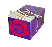Floral box of q-tips on white background