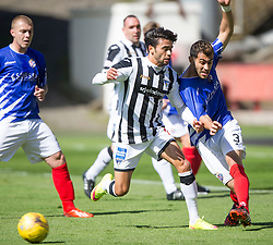Dunfermline&rsquo;s Faissal El Bahktaoui and Cowdenbeath's Mohammed Yakud. . <br /> Dunfermline 7 v 1 Cowdenbeath, SPFL Ladbrokes League Division One game played 15/8/2015 at East End Park.