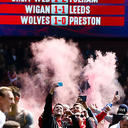 Forest fans invade the pitch at full time, Nottingham Forest v Ipswich Town at the City Ground Nottingham in the SkyBet Championship.