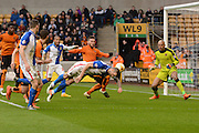 Blackburn Rovers defender Shane Duffy heads for goal during the Sky Bet Championship match between Wolverhampton Wanderers and Blackburn Rovers at Molineux, Wolverhampton, England on 9 April 2016. Photo by Alan Franklin.