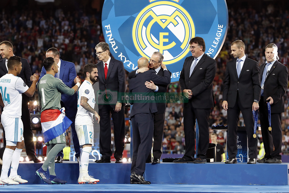 (L-R) Casemiro of Real Madrid, goalkeeper Keylor Navas of Real Madrid, Isco of Real Madrid, coach Zinedine Zidane of Real Madrid, chairman Florentino Perez of Real Madrid, general secretary Theodore Theodoridis of UEFA, chairman Aleksander Ceferin of UEFA during the UEFA Champions League final between Real Madrid and Liverpool on May 26, 2018 at NSC Olimpiyskiy Stadium in Kyiv, Ukraine