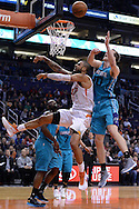 Jan 6, 2016; Phoenix, AZ, USA; Phoenix Suns center Tyson Chandler (4) is blocked by Charlotte Hornets center Cody Zeller (40) while driving the basketball in the first half at Talking Stick Resort Arena. Mandatory Credit: Jennifer Stewart-USA TODAY Sports