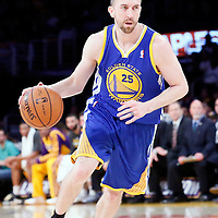 11 April 2014: Golden State Warriors guard Steve Blake (25) dribbles during the Golden State Warriors 112-95 victory over the Los Angeles Lakers at the Staples Center, Los Angeles, California, USA.