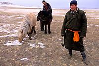 Mongolie. Province de Tov en hiver. Rassemblement des chevaux par -25° // Mongolia Tov province in winter. Horses gathering with -25° C
