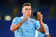 Sergej Milinkovic Savic of Lazio celebrates after scoring during the Italian championship Serie A football match between SS Lazio and US Lecce Sunday, Nov. 10, 2019 at the Stadio Olimpico in Rome. SS Lazio defeated US Lecce 4-2. (Federico Proietti/Image of Sport)