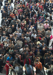 Passengers queuing at ticket gates at new Hongqiao railway station in Shanghai China