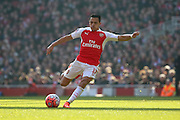 Arsenal forward, Alexis Sanchez (17) shot on goal during the The FA Cup Quarter Final match between Arsenal and Watford at the Emirates Stadium, London, England on 13 March 2016. Photo by Matthew Redman.