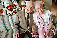 "Noble and Wilma Brewer celebrated their 75th wedding anniversary Wednesday and Noble joked that they hold hands a lot ""because if we didn't, we'd slug each other."""