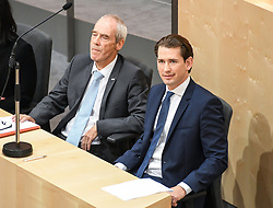 "27.05.2019, Hofburg, Wien, AUT, Sondersitzung des Nationalrates, Sitzung des Nationalrates aufgrund des Misstrauensantrags der Liste JETZT, FPOE und SPOE gegen Bundeskanzler Sebastian Kurz (OeVP) und die Bundesregierung, im Bild v.l. Eckart Ratz, Sebastian Kurz (ÖVP) // during special meeting of the National Council of austria due to the topic ""motion of censure against the federal chancellor Sebastian Kurz (OeVP) and the federal government"" at the Hofburg in Wien, Australia on 2019/05/27. EXPA Pictures © 2019, PhotoCredit: EXPA/ Lukas Huter"