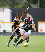 Dundee&rsquo;s Julen Etxabeguren stops Alloa Athletic&rsquo;s Isaac Layne - Alloa Athletic v Dundee, pre-season friendly at Recreation Park, Alloa<br /> <br />  - &copy; David Young - www.davidyoungphoto.co.uk - email: davidyoungphoto@gmail.com