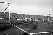 13/10/1963<br /> 10/13/1963<br /> Ireland v Austria, European Championship match at Dalymount Park, Dublin. Ireland won the game 3-2. Austria's Walter Koleznik shoots as  Irish keeper Alan Kelly dives with Ireland's Charlie Hurley and Tommy Traynor in support.