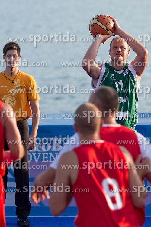 Raso Nesterovic of Slovenia during exhibition match between Croatia, Italy and Slovenia at Eurobasket 2013 promotion Basketball on sea raft on August 24, 2013, Koper, Slovenia. (Photo by Matic Klansek Velej / Sportida.com)