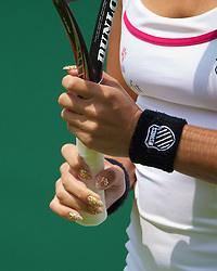 LONDON, ENGLAND - Tuesday, June 25, 2013: The glittery fingernails of Heather Watson (GBR) during the Ladies' Singles 1st Round match on day two of the Wimbledon Lawn Tennis Championships at the All England Lawn Tennis and Croquet Club. (Pic by David Rawcliffe/Propaganda)
