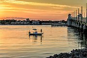 Fishing in Matanzas Bay, Saint Augustine, at Sunrise