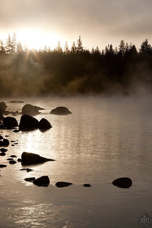 """""""Donner Lake Morning 4"""" - Photograph of the sun rising and fog on Donner Lake in Truckee, CA."""