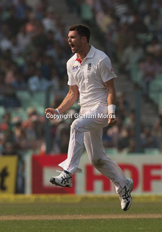 Bowler James Anderson celebrates removing Virat Kohli during the third Test Match between India and England at Eden Gardens, Kolkata. Photo: Graham Morris (Tel: +44(0)20 8969 4192 Email: sales@cricketpix.com) 05/12/12