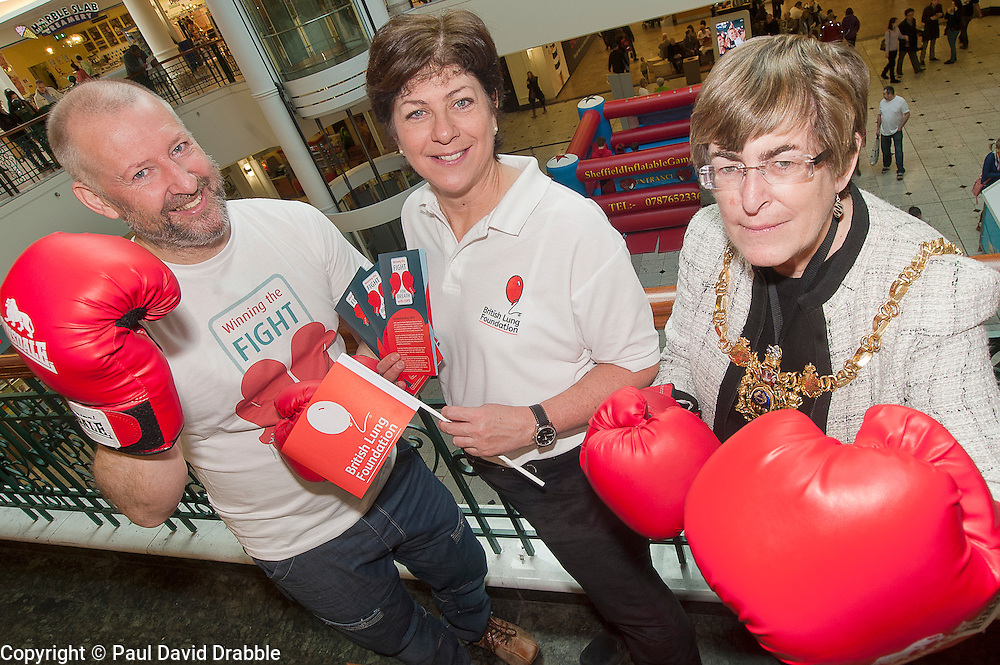 "Lord Mayor of Sheffield Councillor Dr Sylvia Dunkley, British Lung Foundation Support & Development Manager and Dr Rod Lawson Consultant in Respiratory Medicine at Sheffield Teaching Hospitals help to launch of the ""Winning The Fight For Breath  with COPD Campaign"" in Meadowhall Shopping Centre Sheffield on Saturday 18th February 2012..www.pauldaviddrabble.co.uk..18th February 2012 -  Image © Paul David Drabble"