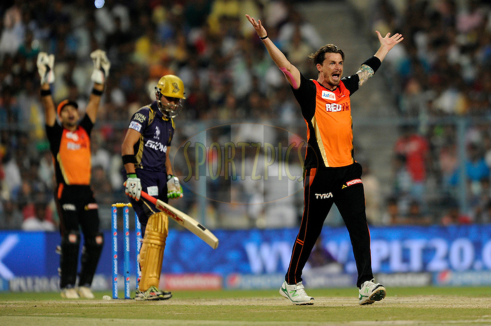 Dale Steyn of Sunrisers Hyderabad appeals unsuccessfully for the wicket of Gautam Gambhir of Kolkata Knight Riders during match 38 of the Pepsi IPL 2015 (Indian Premier League) between The Kolkata Knight Riders and The Sunrisers Hyderabad held at Eden Gardens Stadium in Kolkata, India on the 4th May 2015.<br /> <br /> Photo by:  Pal Pillai / SPORTZPICS / IPL