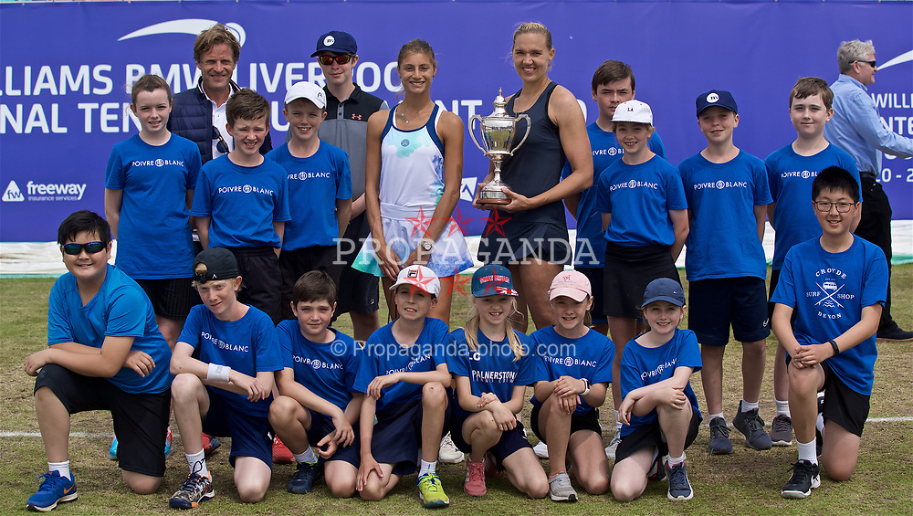 LIVERPOOL, ENGLAND - Sunday, June 23, 2019: Tournament Director Anders Borg with Champion Kaia Kanepi (EST) and Corinna Dentoni (ITA) pose with the ball boys and girls after the Ladies Final on Day Four of the Liverpool International Tennis Tournament 2019 at the Liverpool Cricket Club. (Pic by David Rawcliffe/Propaganda)