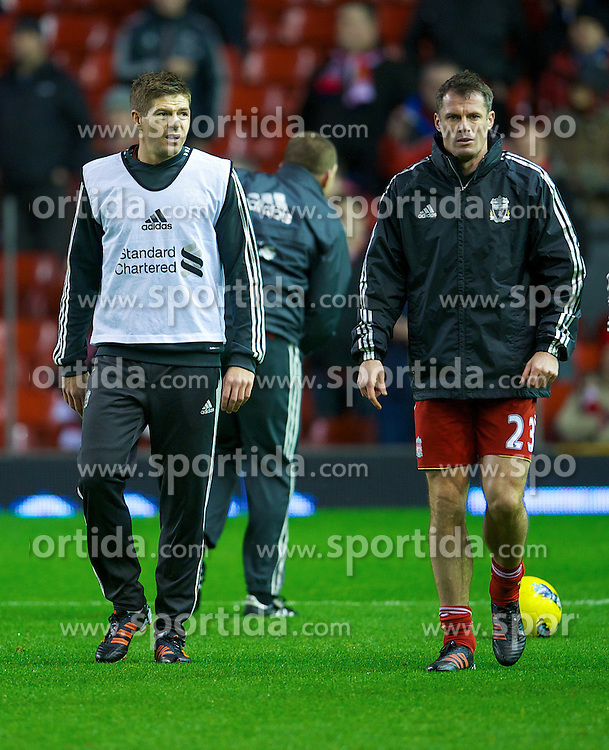 30.12.2011, Anfield Stadion, Liverpool, ENG, PL, FC Liverpool vs Newcastle United, 19. Spieltag, im Bild Liverpool's captain Steven Gerrard and Jamie Carragher before the football match of English premier league, 19th round, between FC Liverpool and Newcastle United at Anfield Stadium, Liverpool, United Kingdom on 2011/12/30. EXPA Pictures © 2011, PhotoCredit: EXPA/ Propagandaphoto/ David Rawcliff..***** ATTENTION - OUT OF ENG, GBR, UK *****