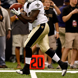 August 21, 2010; New Orleans, LA, USA; New Orleans Saints running back P.J. Hill (32) during warm ups prior to kickoff of a preseason game against the Houston Texans at the Louisiana Superdome. Mandatory Credit: Derick E. Hingle