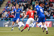 Gillingham midfielder Josh Wright and Coventry midfielder John Fleck fight for the ball in midfield during the Sky Bet League 1 match between Gillingham and Coventry City at the MEMS Priestfield Stadium, Gillingham, England on 2 April 2016. Photo by David Charbit.