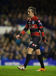 LIVERPOOL, ENGLAND - Saturday, January 4, 2014: Queens Park Rangers' captain Joey Barton in action against Everton during the FA Cup 3rd Round match at Goodison Park. (Pic by David Rawcliffe/Propaganda)