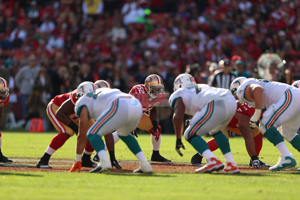 Miami Dolphins against the San Francisco 49ers during an NFL game at Candlestick Park on December 9, 2012 in San Francisco, CA.  (Photo by Jed Jacobsohn)