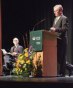 Dr. Steven Miner introduces Strobe Talbott, president of The Brookings Institution, before Talbott delivers the keynote address for Ohio University's Baker Peace Conference on Thursday evening, 3/29/07, at Templeton Blackburn Alumni Memorial Auditorium. The conference continues all day Friday.