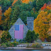 Abandoned Old Stone Church in West Boylston of Central Massachusetts on a beautiful autumn evening. New England fall foliage beautifully framed this historic landmark. <br />