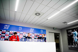 November 15, 2018 - Ljubljana, SLOVENIA - 181115 Ole Kristian Seln¾s of Norway, Lars LagerbÅ ck, head coach of Norway, and Svein Graff, head of communications of NFF, during a press event on November 15, 2018 in Ljubljana..Photo: Jon Olav Nesvold / BILDBYRN / kod JE / 160358 (Credit Image: © Jon Olav Nesvold/Bildbyran via ZUMA Press)