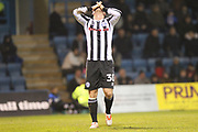 Billy Knott reacts to missing a late chance during the EFL Sky Bet League 1 match between Gillingham and Rochdale at the MEMS Priestfield Stadium, Gillingham, England on 13 January 2018. Photo by Daniel Youngs.