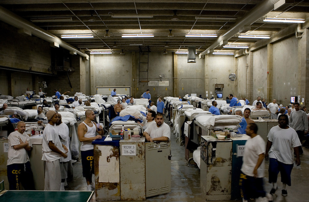 Inmates are crowded into gymnasiums coverted into dormitories at the California State Prison Ð Sacramento in Folsom, California, Thursday, Dec. 7, 2006.