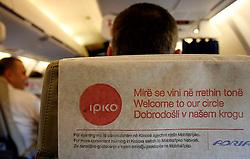 PRISTINA, KOSOVO - DECEMBER 14 - IPKO reklama na letalu Adrie Airways ob odprtju drugega mobilnega operaterja na Kosovu.