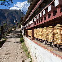 We passed a long row of prayer wheels as we were leaving Namche Bazar heading Samde.